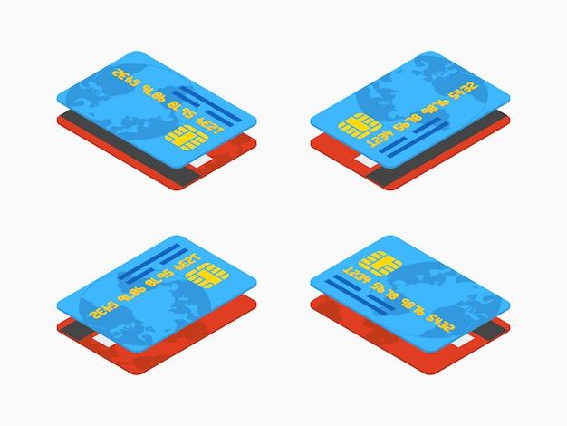 Zestaw izometryczne czerwone i niebieskie karty kredytowe