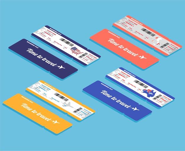 Zestaw izometrycznej karty pokładowej linii lotniczych. szablon lub makiety na białym tle na niebieskim tle. bilety z przodu iz tyłu.