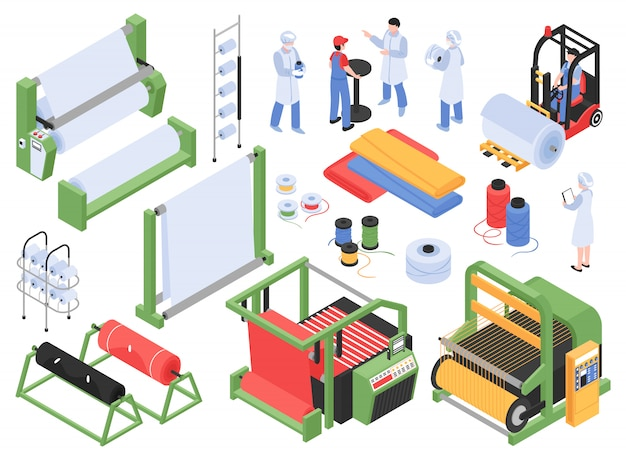Zestaw izometrycznej produkcji wyrobów włókienniczych na białym tle z magazynami maszyn przemysłowych i postaciami personelu