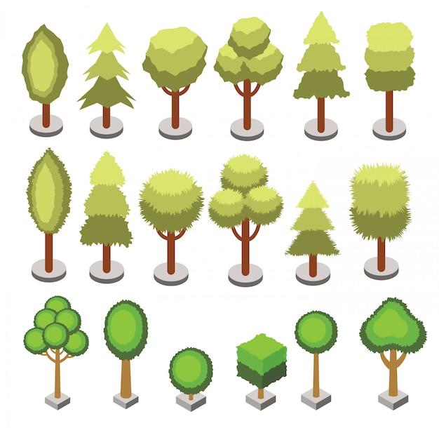 Zestaw izometryczny 3d drzewa o różnych kształtach na białym tle. wektorowe izometryczne ikony drzewa dla map izometrycznych, projektowanie gier. zestaw konstruktora miasta.