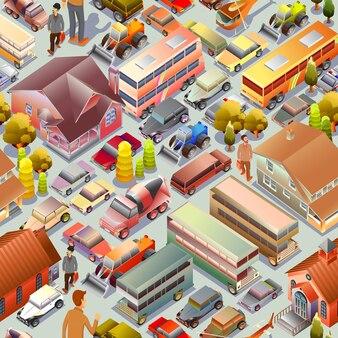 Zestaw izometryczny 3d pejzaż miejski z budynkami