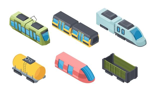 Zestaw izometryczny 3d różnych pociągów. transport kolejowy. wagony towarowe i cysterny. metro, lokomotywa, tramwaj. transportuj pakiet izolowanych klipartów.