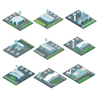 Zestaw izometryczny architektury terminalu lotniska.