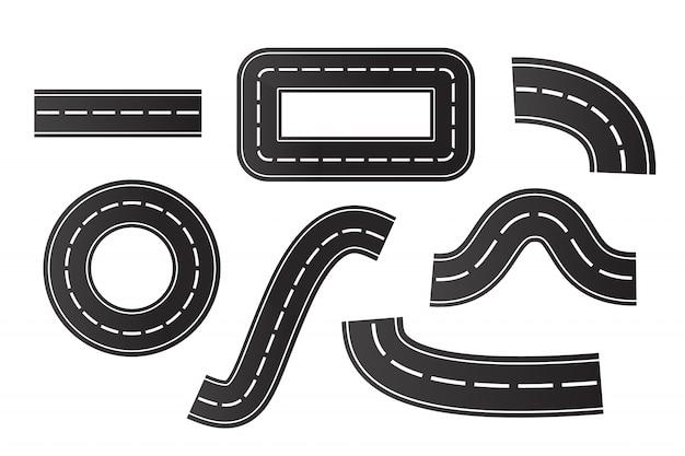 Zestaw izometryczny asfaltowych dróg na białym tle. koncepcja logistyki, podróży, dostawy i transportu.