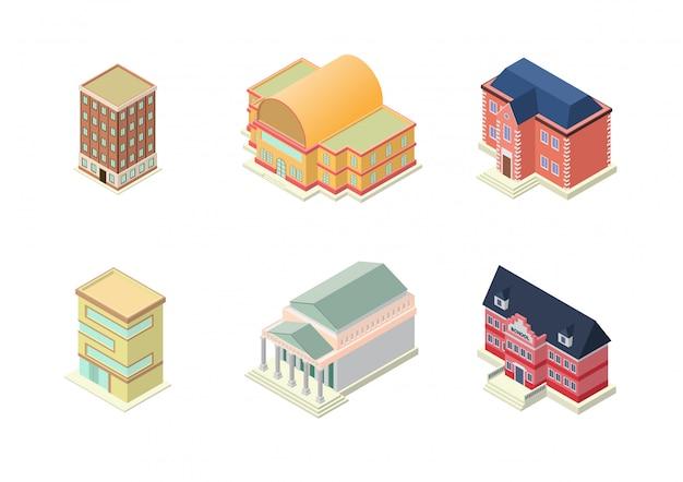 Zestaw izometryczny budynków hotelu, szkoły, mieszkania lub wieżowców