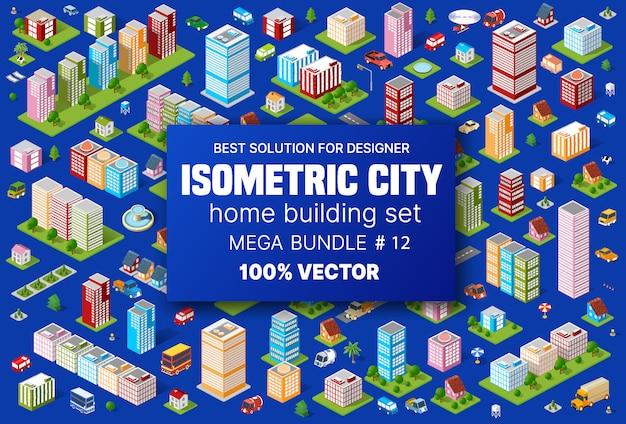 Zestaw izometryczny budynku mieści ikony modułów bloku