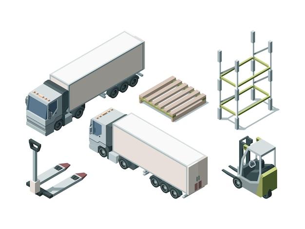 Zestaw izometryczny ciężarówek i wyposażenia magazynu. pojazdy do transportu ładunków i narzędzia do załadunku. wózek widłowy i załadunek palety. koncepcja logistyki. wysyłka towarów i produktów
