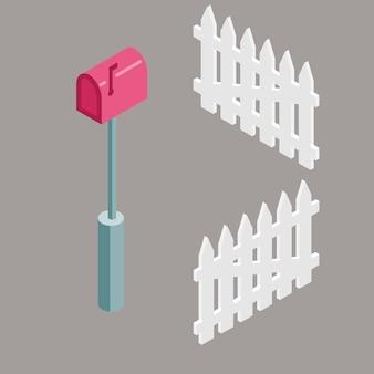 Zestaw izometryczny czerwony skrzynki pocztowej i ogrodzenia na podmiejskiej ilustracji domu.