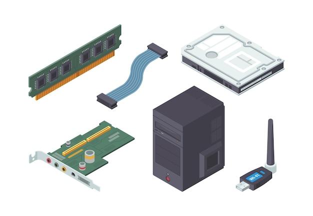 Zestaw izometryczny części komputera osobistego