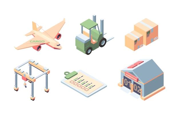 Zestaw izometryczny dostawy ładunku. ekspresowa obsługa dostaw ładunków