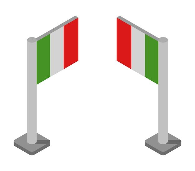 Zestaw izometryczny flagi włoch