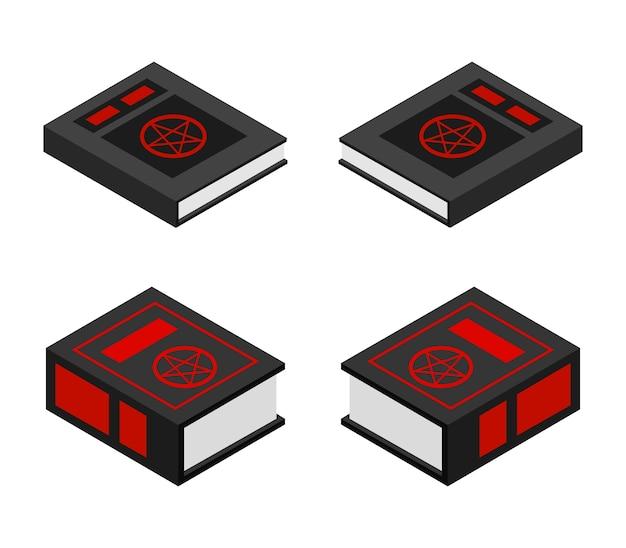 Zestaw izometryczny halloween książki satanistycznej