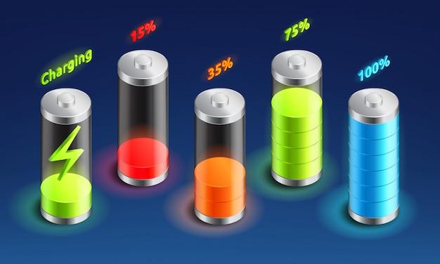 Zestaw izometryczny ikona ładowania baterii