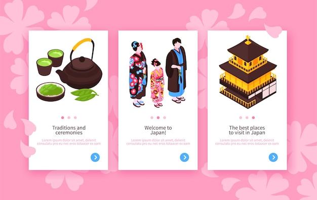 Zestaw izometryczny japonia podróżuje pionowe banery