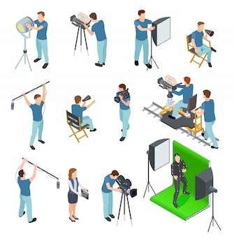 Zestaw izometryczny kinematografu. ludzie pracują kamera światło załoga film wideo film ruch produkcja tv studio zielony ekran zestaw