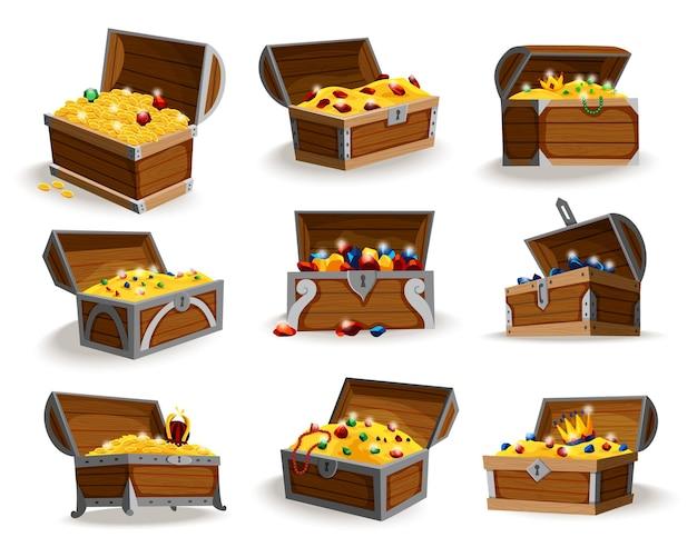 Zestaw izometryczny kreskówka skrzynie skarbów. kolekcja drewnianych otwartych pudełek pełnych złotych monet i klejnotów