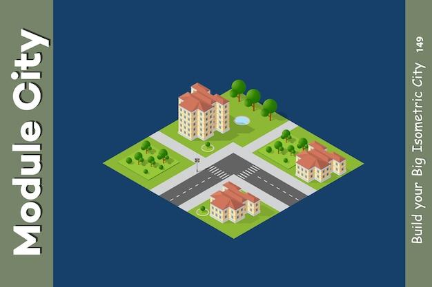 Zestaw izometryczny miasta