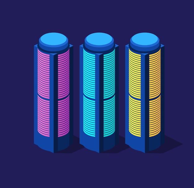 Zestaw izometryczny nowoczesnych budynków