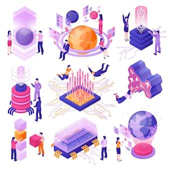 Zestaw izometryczny nowoczesnych technologii przyszłości