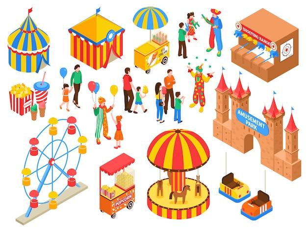 Zestaw izometryczny parku rozrywki