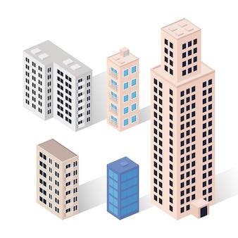 Zestaw izometryczny pięciu budynków