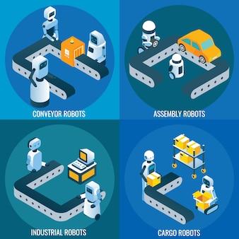 Zestaw izometryczny plakat robotyki przemysłowej