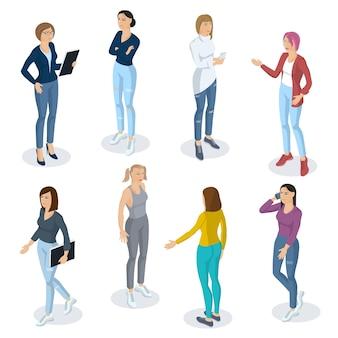 Zestaw izometryczny płaska konstrukcja ludzi różnych postaci, stylów i zawodów. izometryczna aktorka kobieta ubrana w spodnie pełnej długości kolekcja różnorodnych póz aktorskich.