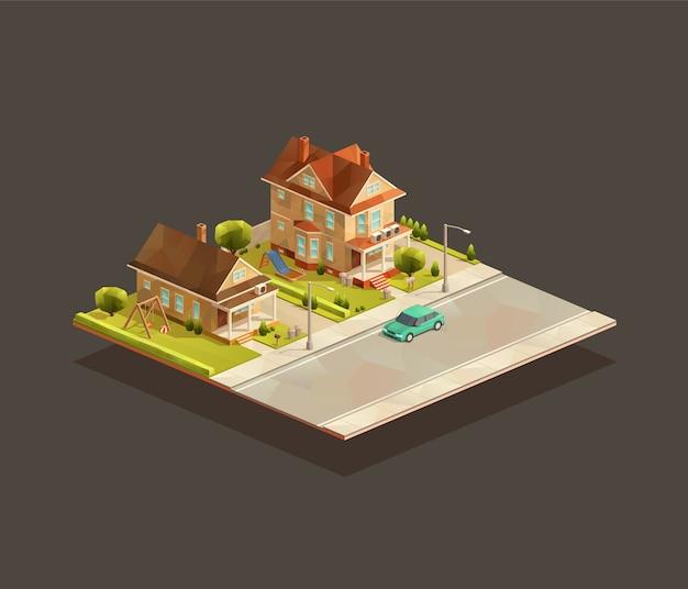 Zestaw izometryczny podmiejskich domów jednorodzinnych na ulicy z samochodem