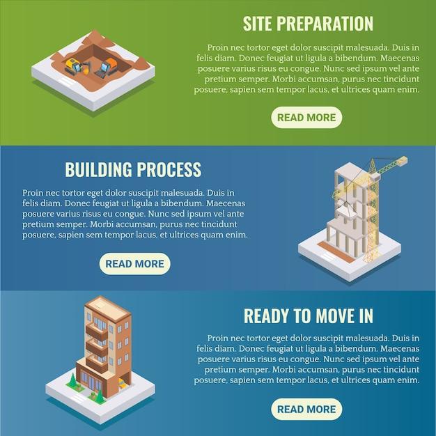 Zestaw izometryczny poziomy baner budowy mieszkania.