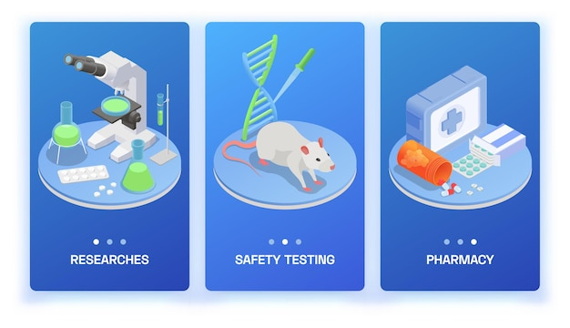 Zestaw izometryczny produkcji farmaceutycznej trzech pionowych banerów ze sprzętem do badań produktów medycznych i szczurem laboratoryjnym