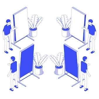 Zestaw izometryczny przedstawienie męskiej tablicy biurowej
