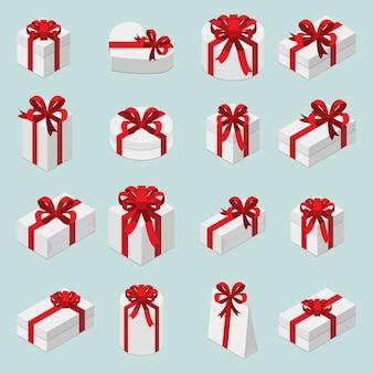 Zestaw izometryczny pudełka na prezenty