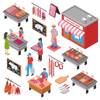 Zestaw izometryczny sklep mięsny