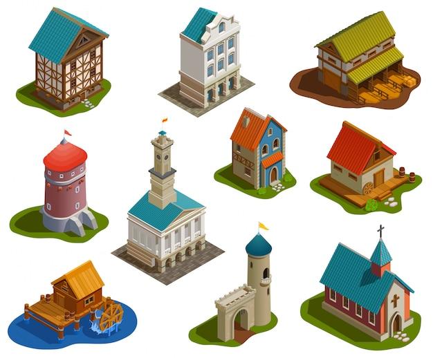 Zestaw izometryczny średniowiecznych budynków