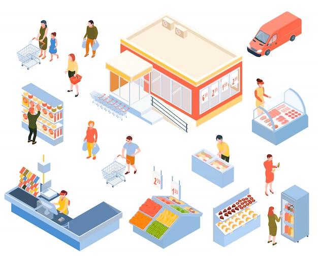 Zestaw izometryczny supermarket na białym tle