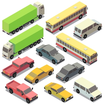 Zestaw izometryczny transport miejski. samochody z cieniami odizolowywającymi na białym tle. ciężarówka,