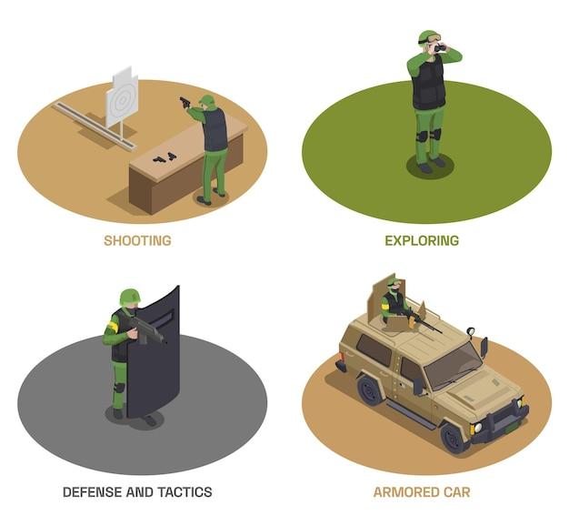 Zestaw Izometryczny żołnierza Broni Wojskowej Składający Się Z Czterech Okrągłych Kompozycji Z Uzbrojonymi Członkami Sił Specjalnych I Samochodem Premium Wektorów