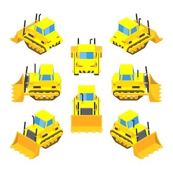 Zestaw izometryczny żółty buldożery
