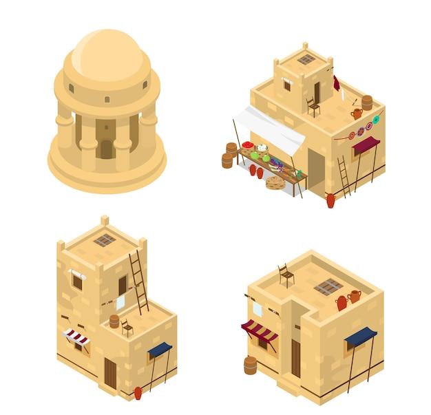 Zestaw izometrycznych arabskich budynków. tradycyjna architektura bliskiego wschodu.
