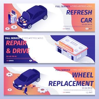 Zestaw izometrycznych banerów do naprawy samochodów