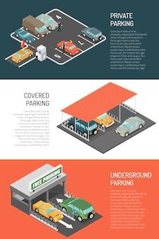 Zestaw izometrycznych banerów parkingowych