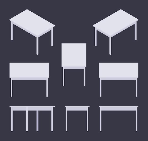 Zestaw izometrycznych białych tabel