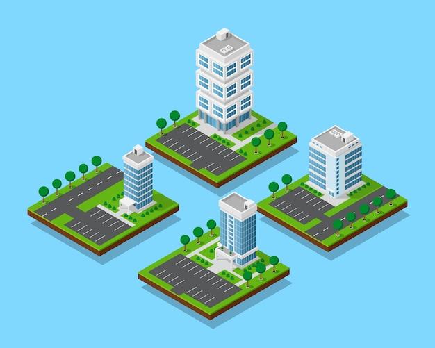 Zestaw izometrycznych budynków biurowych z drzewami, wieżowiec i budynki biurowe z ulicznymi drogami i parkigami, zestaw ikon, elementy ifographic do tworzenia mapy miasta