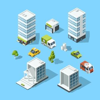 Zestaw izometrycznych budynków w stylu kreskówek, drzew i samochodów. ilustracja szablonu architektury
