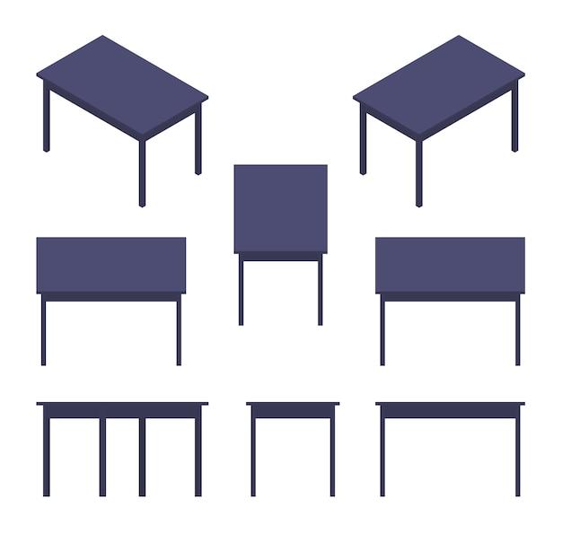 Zestaw izometrycznych czarnych tabel