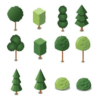 Zestaw izometrycznych drzew ogrodowych. ilustracja. izometryczne płaska konstrukcja.