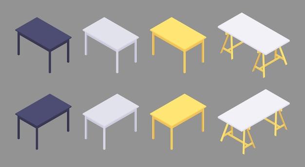 Zestaw izometrycznych kolorowych stołów