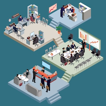 Zestaw izometrycznych ludzi w garniturach biznesowych w biurze.