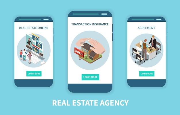 Zestaw izometrycznych mobilnych stron internetowych agencji nieruchomości
