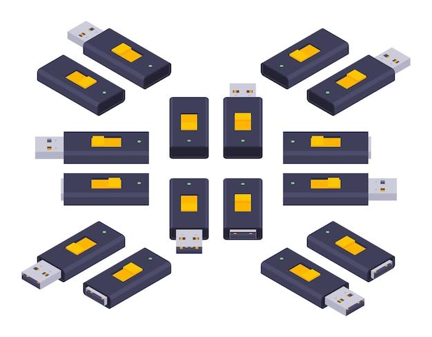 Zestaw izometrycznych napędów flash usb